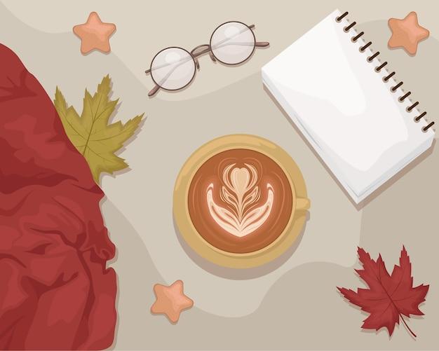 Herbstwohnung lag mit dem notizbuch