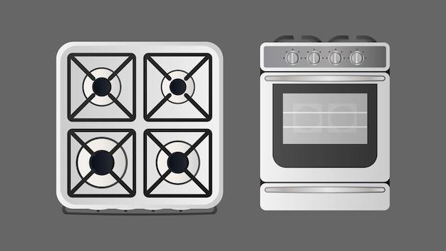 Herd in einem realistischen stil. moderner backofen für die küche. isoliert. vektor.
