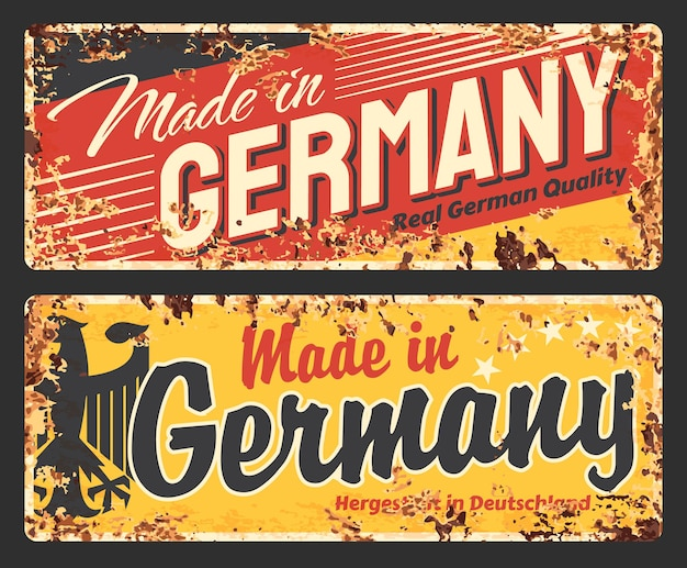 Hergestellt aus rostiger metallplatte in deutschland, vintage-rostblechschild mit schwarzem deutschen adler und typografie