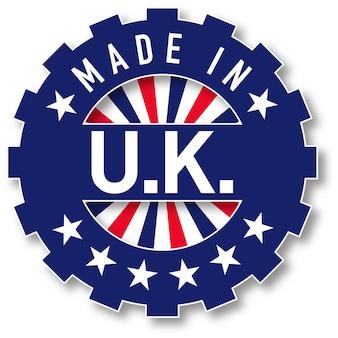 Hergestellt im britischen flaggenfarbstempel. vektor-illustration