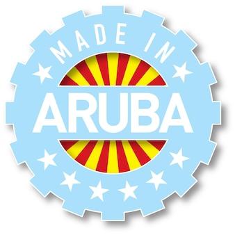 Hergestellt im farbstempel der aruba-flagge. vektor-illustration