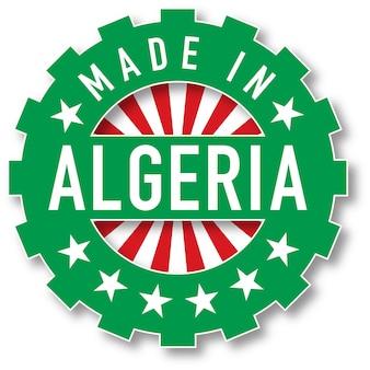 Hergestellt in algerien flaggenfarbstempel. vektor-illustration