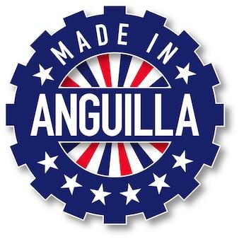 Hergestellt in anguilla-flagge-farbstempel. vektor-illustration