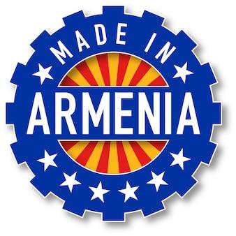 Hergestellt in armenien flaggenfarbstempel. vektor-illustration
