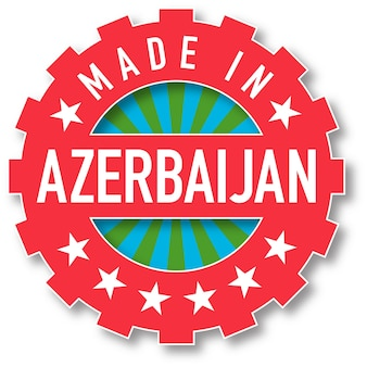 Hergestellt in aserbaidschan flagge farbstempel. vektor-illustration