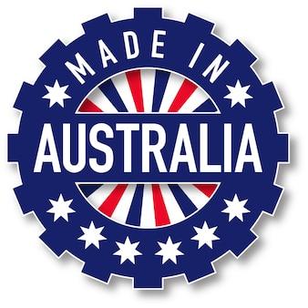Hergestellt in australien flaggenfarbstempel. vektor-illustration