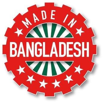 Hergestellt in bangladesch flaggenfarbstempel. vektor-illustration