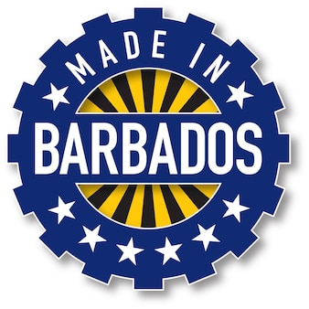 Hergestellt in barbados flaggenfarbstempel. vektor-illustration