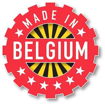 Hergestellt in belgien flaggenfarbstempel. vektor-illustration