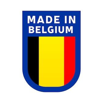 Hergestellt in belgien-symbol. nationale länderflagge stempelaufkleber. vektor-illustration einfaches symbol mit flagge