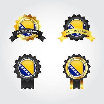Hergestellt in bosnien und herzegowina mit emblem abzeichen etiketten vorlage design