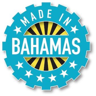 Hergestellt in den farben der flagge der bahamas. vektor-illustration
