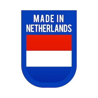 Hergestellt in den niederlanden symbol. nationale länderflagge stempelaufkleber. vektor-illustration einfaches symbol mit flagge