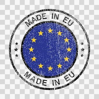 Hergestellt in der europäischen union stempel im grunge-stil