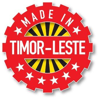 Hergestellt in der flaggenfarbe von timor-leste. vektor-illustration