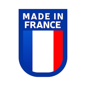 Hergestellt in frankreich-symbol. nationale länderflagge stempelaufkleber. vektor-illustration einfaches symbol mit flagge
