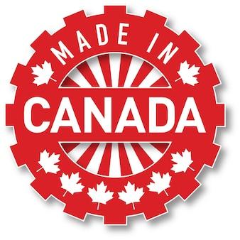 Hergestellt in kanada-flaggenfarbstempel. vektor-illustration