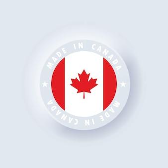 Hergestellt in kanada. kanada gemacht. kanadisches qualitätsemblem, etikett, schild, schaltfläche. kanada-flagge. .