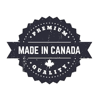 Hergestellt in kanada, vintage-abzeichen, schild isoliert auf weiß