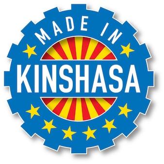 Hergestellt in kinshasa flaggenfarbstempel. vektor-illustration