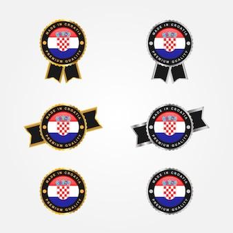 Hergestellt in kroatien mit emblemabzeichen illustarion schablonendesign