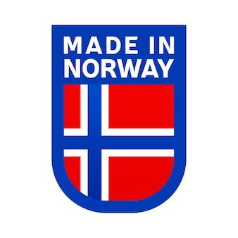 Hergestellt in norwegen-symbol. nationale länderflagge stempelaufkleber. vektor-illustration einfaches symbol mit flagge