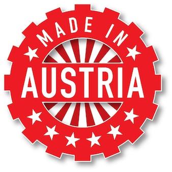 Hergestellt in österreich flaggenfarbstempel. vektor-illustration