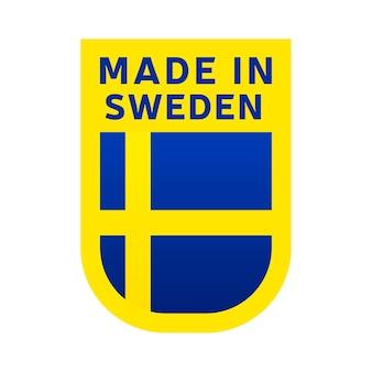 Hergestellt in schweden-symbol. nationale länderflagge stempelaufkleber. vektor-illustration einfaches symbol mit flagge