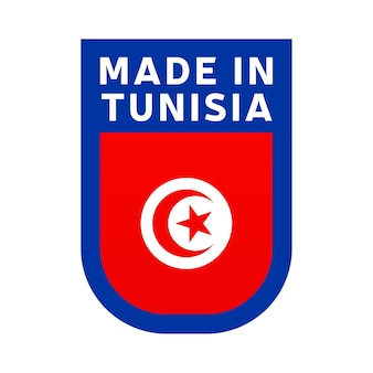 Hergestellt in tunesien-symbol. nationale länderflagge stempelaufkleber. vektor-illustration einfaches symbol mit flagge