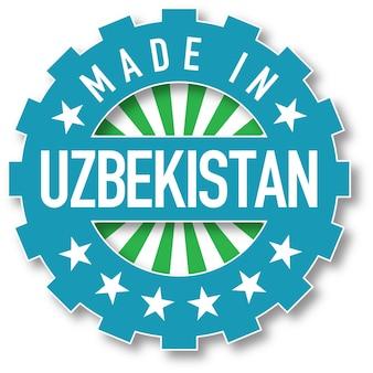 Hergestellt in usbekistan flaggenfarbstempel. vektor-illustration