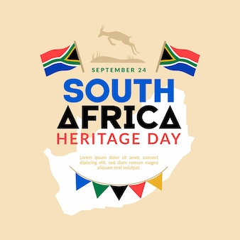Heritage day (südafrika) in flachem design