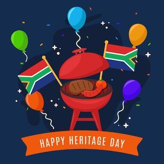 Heritage day südafrika mit flaggen und luftballons