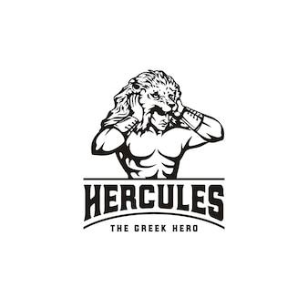 Herkules herakles löwe kopfschmuck, muskulöser mythos griechischer krieger logo design