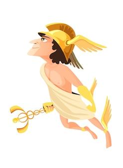 Hermes oder merkur - gottheit des handels, des handels und der kaufleute des griechischen und römischen pantheons, bote der olympischen götter. männlicher mythischer charakter, der geflügelten helm trägt. flache karikaturillustration.