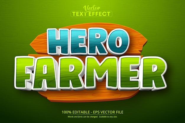 Hero farmer text, handyspiel und bearbeitbarer texteffekt im cartoon-stil