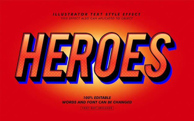 Hero text style effekt modell
