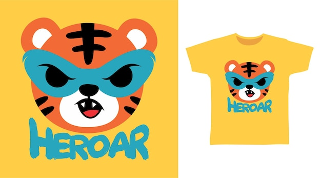 Heroar süßes tiger-t-shirt-design
