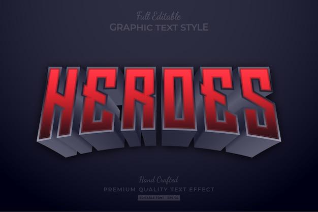 Heroes red bearbeitbarer texteffekt-schriftstil