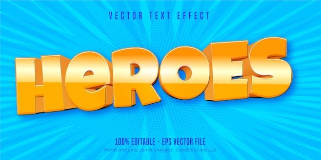 Heroes text, bearbeitbarer texteffekt im handyspielstil