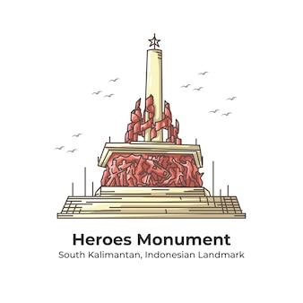 Herones monument indonesian landmark line cartoon illustration