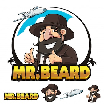 Herr Beard Man Travel Logo