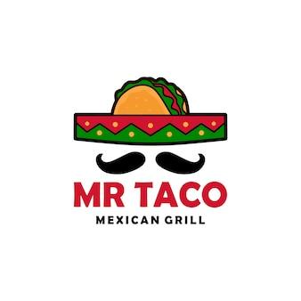 Herr taco-sombrerohutschnurrbartlogovektor-ikonenillustration