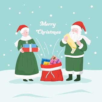 Herr und frau weihnachtsmann legen die geschenke in den sack des weihnachtsmanns