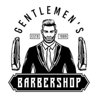 Herren barbershop emblem mit haarschneidemaschine