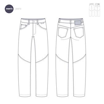 Herren jeans hosen und hosen., kleidung dünne linie stil.