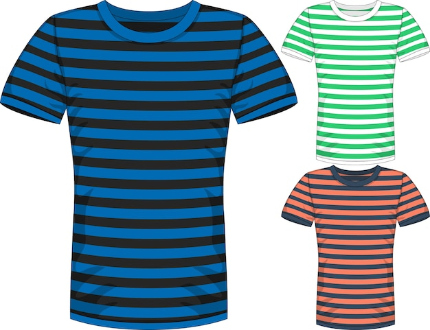 Herren kurzarm t-shirt design-vorlagen in drei farben mit streifen