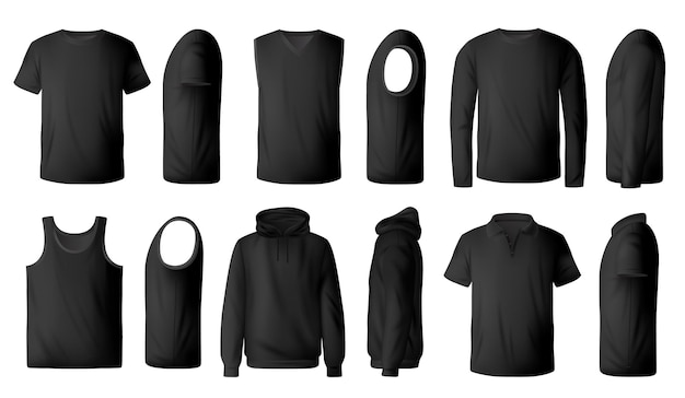 Herren schwarzes t-shirt, pullover und hoodie realistisch