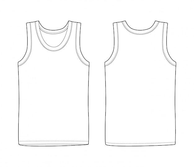 Herren weste unterwäsche. weißes tanktop in der vorder- und rückseite. lokalisierte ärmellose männliche sporthemden oder spitzenkleid der männer. leeres t-shirt. lässiger kleidungsstil.
