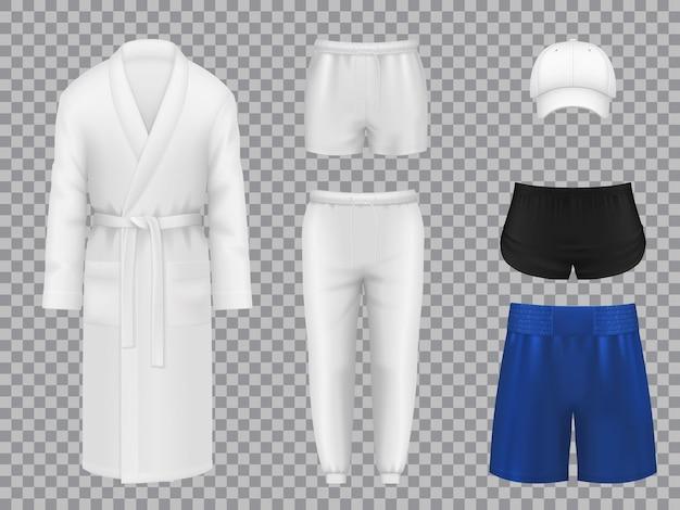 Herrenbekleidung, realistische wäsche, sportbekleidung und kopfbedeckungen. herrenunterwäsche und sportanzugset