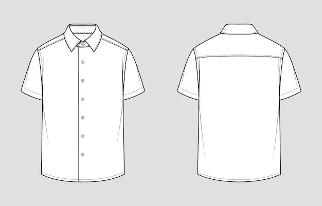 Herrenhemd mit kurzen ärmeln. entspannte passform. vektor-illustration. flache technische zeichnung. modellvorlage.